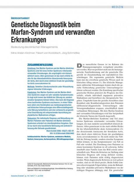 Genetische Diagnostik beim Marfan-Syndrom und verwandten Erkrankungen