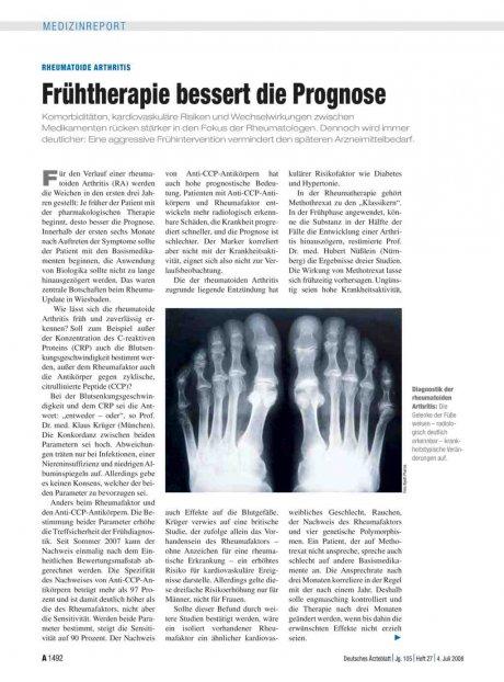 Rheumatoide Arthritis: Frühtherapie bessert die Prognose