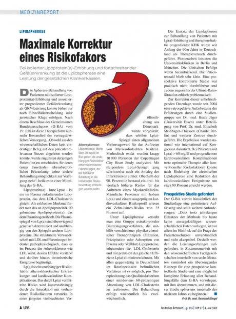 Lipidapherese: Maximale Korrektur eines Risikofakors