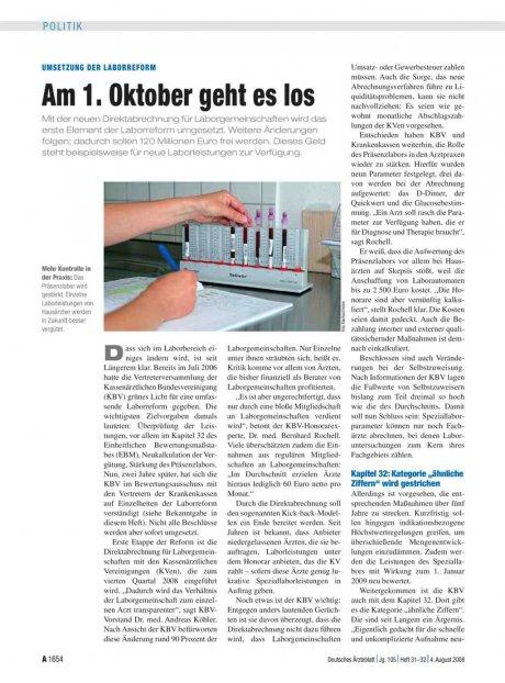 Umsetzung der Laborreform: Am 1. Oktober geht es los