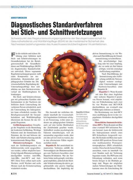 Arbeitsmedizin: Diagnostisches Standardverfahren bei Stich- und Schnittverletzungen
