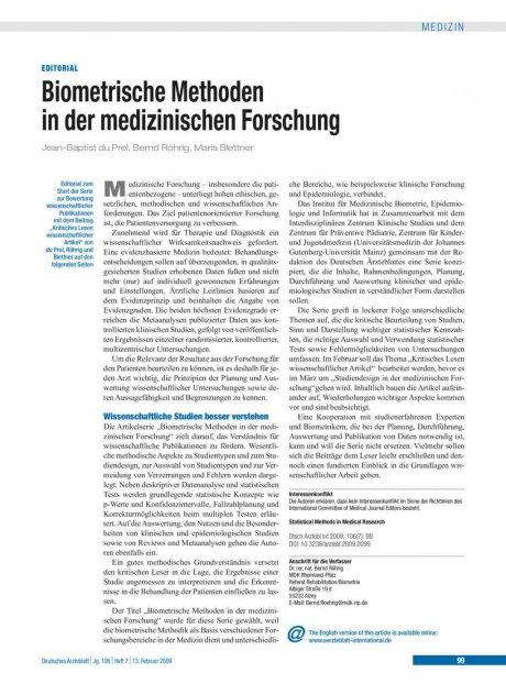 Biometrische Methoden in der medizinischen Forschung