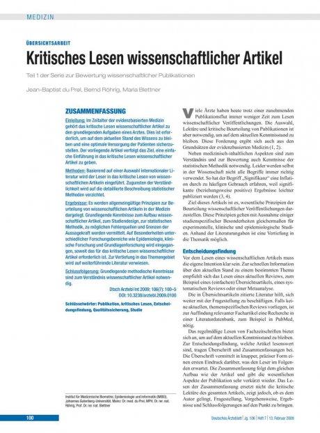 Kritisches Lesen wissenschaftlicher Artikel