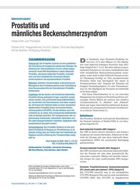 asymptomatische prostatitis therapie