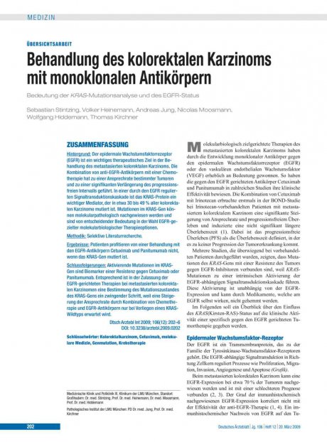 Behandlung des kolorektalen Karzinoms mit monoklonalen Antikörpern