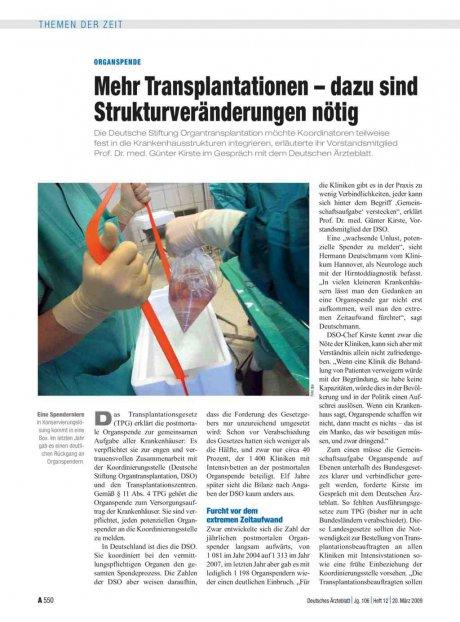 Organspende: Mehr Transplantationen – dazu sind Strukturveränderungen nötig