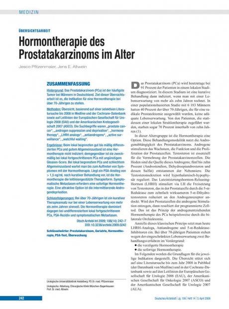 Hormontherapie des Prostatakarzinoms im Alter