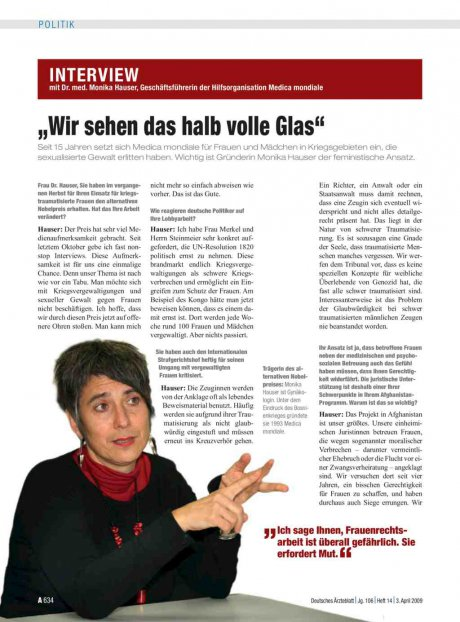 """Interview mit Dr. med. Monika Hauser, Geschäftsführerin der Hilfsorganisation Medica mondiale: """"Wir sehen das halb volle Glas"""""""