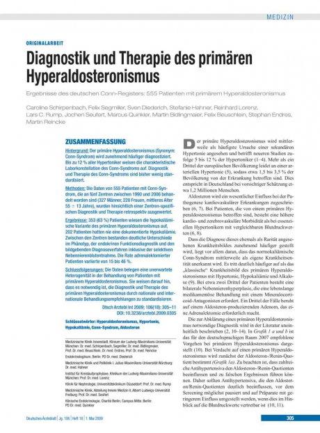 Diagnostik und Therapie des primären Hyperaldosteronismus