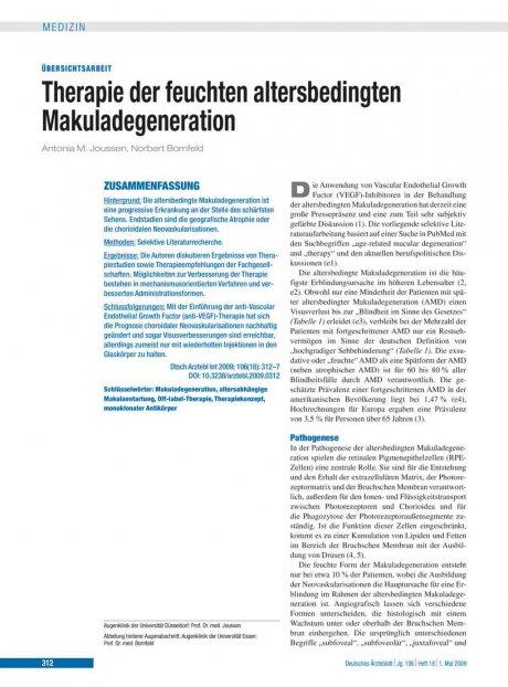 Therapie der feuchten altersbedingten Makuladegeneration