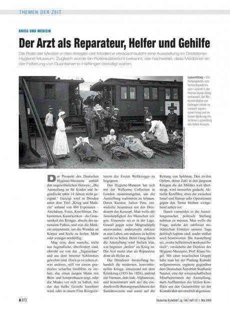 Krieg und Medizin: Der Arzt als Reparateur, Helfer und Gehilfe