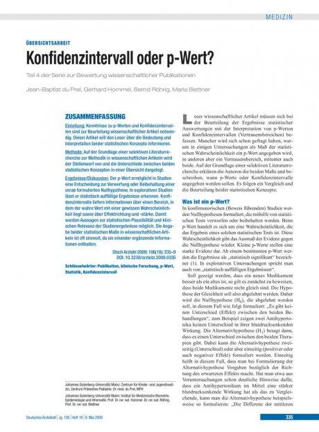 Konfidenzintervall oder p-Wert? Teil 4 der Serie zur Bewertung wissenschaftlicher Publikationen