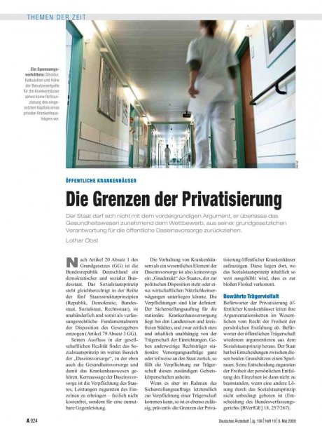 Öffentliche Krankenhäuser: Die Grenzen der Privatisierung