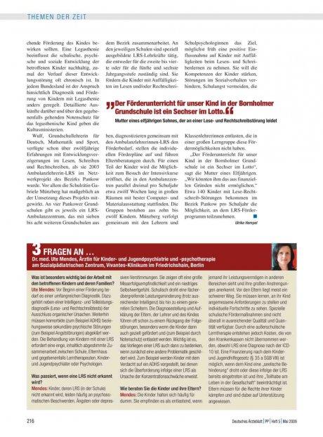 3 Fragen an … Dr. med. Ute Mendes, Ärztin für Kinder- und Jugendpsychiatrie und -psychotherapie am Sozialpädiatrischen Zentrum, Vivantes-Klinikum im Friedrichshain, Berlin