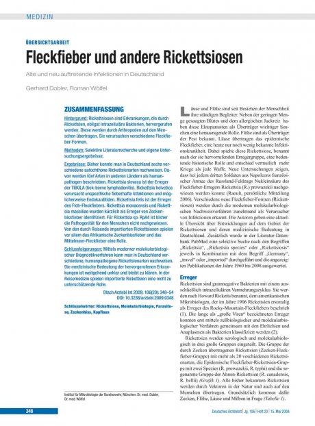 Fleckfieber und andere Rickettsiosen