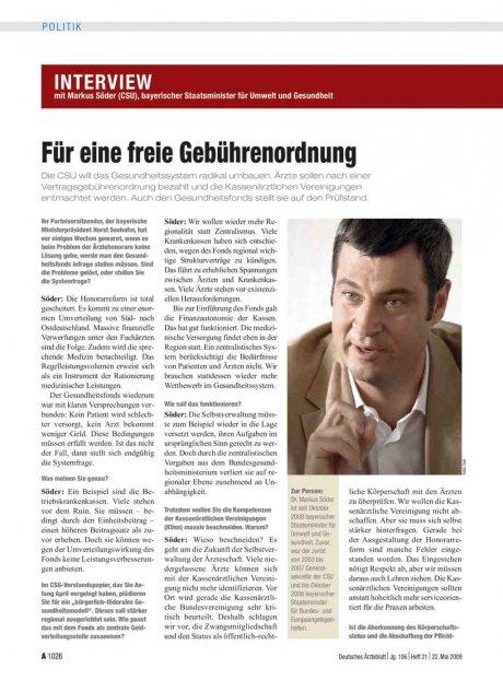 Interview mit Markus Söder (CSU), bayerischer Staatsminister für Umwelt und Gesundheit: Für eine freie Gebührenordnung