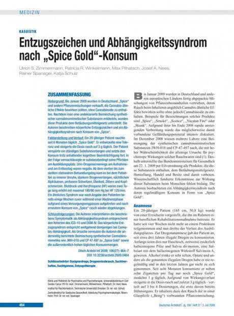 """Entzugszeichen und Abhängigkeitssyndrom nach """"Spice Gold""""-Konsum"""