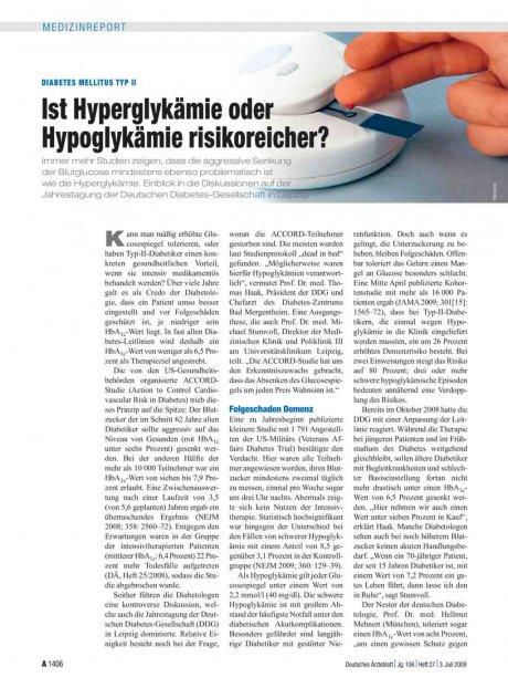 Diabetes mellitus Typ II: Ist Hyperglykämie oder Hypoglykämie risikoreicher?