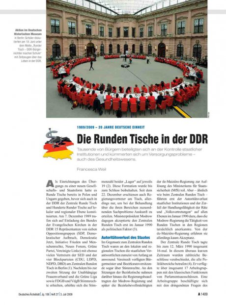 1989/2009 – 20 Jahre deutsche Einheit: Die Runden Tische in der DDR