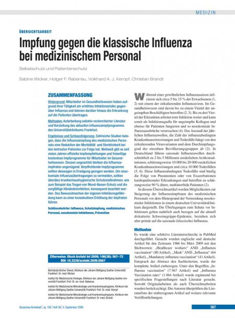 Impfung gegen die klassische Influenza bei medizinischem Personal