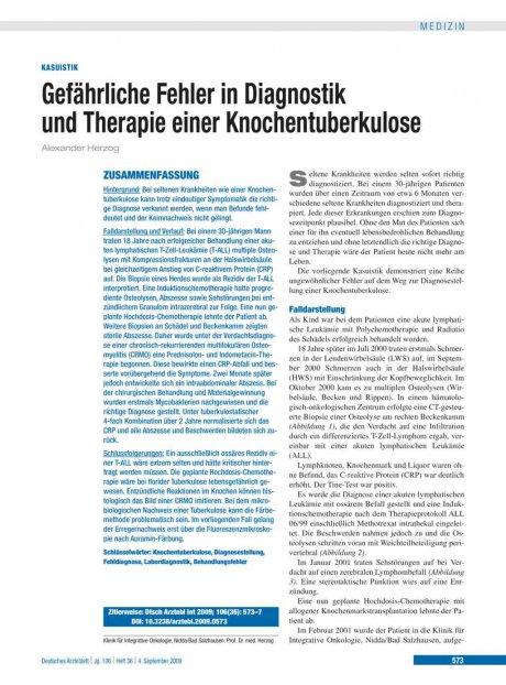 Gefährliche Fehler in Diagnostik und Therapie einer Knochentuberkulose