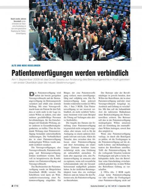 Alte und neue Regelungen: Patientenverfügungen werden verbindlich