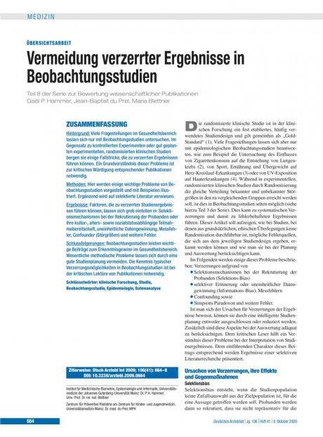 Vermeidung verzerrter Ergebnisse in Beobachtungsstudien