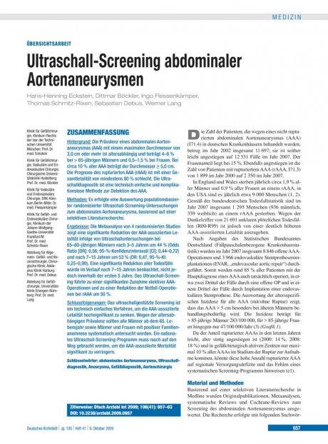 Ultraschall-Screening abdominaler Aortenaneurysmen