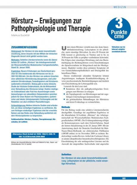 Hörsturz – Erwägungen zur Pathophysiologie und Therapie