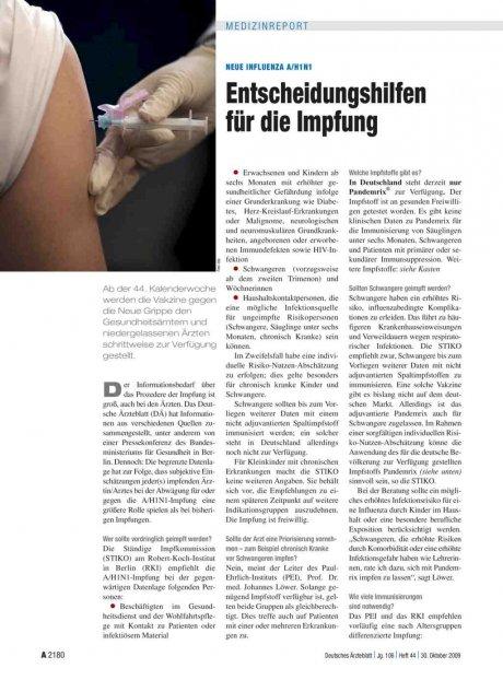 Neue Influenza A/H1N1: Entscheidungshilfen für die Impfung