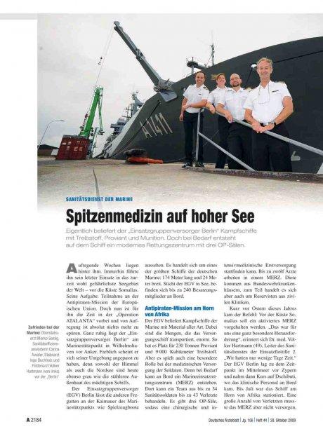 Sanitätsdienst der Marine: Spitzenmedizin auf hoher See