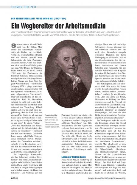 Der Heidelberger Arzt Franz Anton Mai (1742–1814): Ein Wegbereiter der Arbeitsmedizin