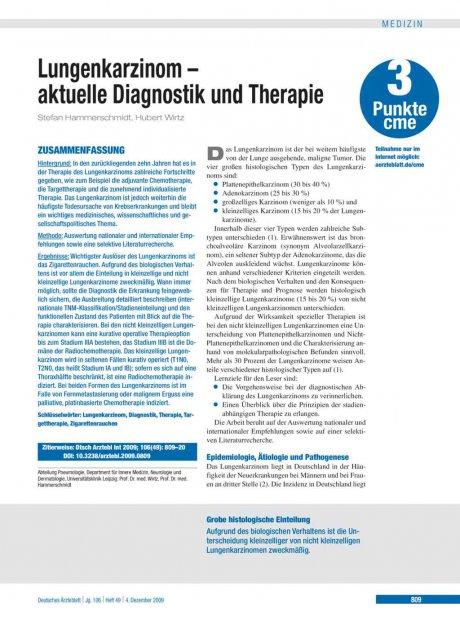 Lungenkarzinom – aktuelle Diagnostik und Therapie
