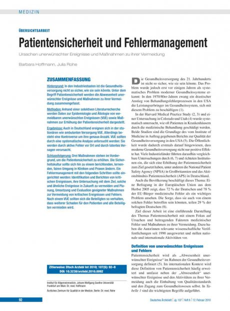 Patientensicherheit und Fehlermanagement