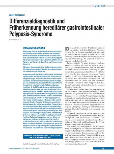 Differenzialdiagnostik und Früherkennung hereditärer gastrointestinaler Polyposis-Syndrome