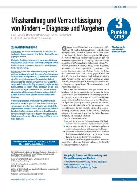 Misshandlung und Vernachlässigung von Kindern – Diagnose und Vorgehen