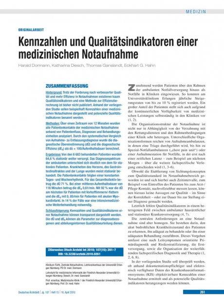 Kennzahlen und Qualitätsindikatoren einer medizinischen Notaufnahme