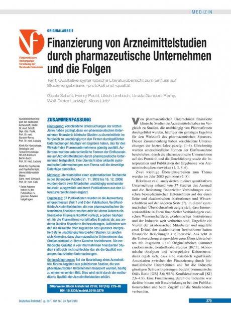 Finanzierung von Arzneimittelstudien durch pharmazeutische Unternehmen und die Folgen – Teil 1