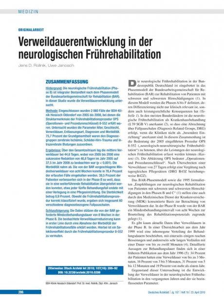 Verweildauerentwicklung in der neurologischen Frührehabilitation