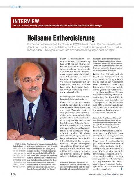 Interview mit Prof. Dr. med. Hartwig Bauer, dem Generalsekretär der Deutschen Gesellschaft für Chirurgie: Heilsame Entheroisierung