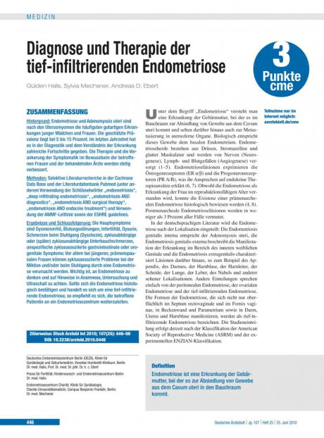 Diagnose und Therapie der tief-infiltrierenden Endometriose