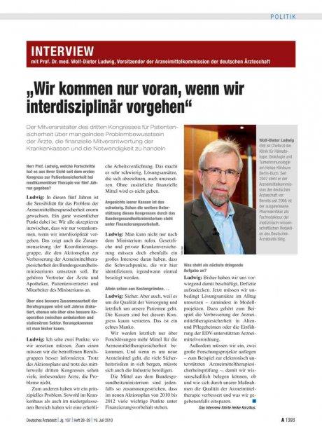 """Interview mit Prof. Dr. med. Wolf-Dieter Ludwig, Vorsitzender der Arzneimittelkommission der deutschen Ärzteschaft: """"Wir kommen nur voran, wenn wir interdisziplinär vorgehen"""""""