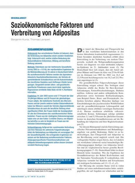 Sozioökonomische Faktoren und Verbreitung von Adipositas