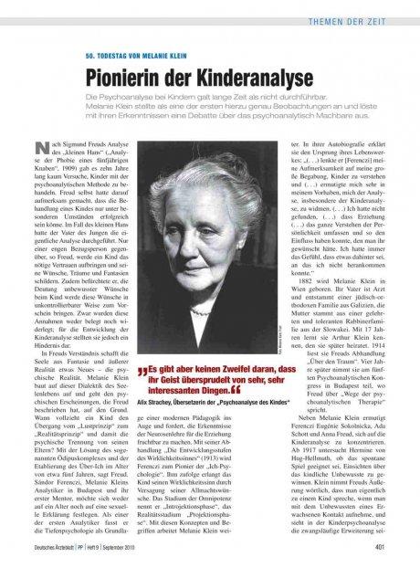 50. Todestag von Melanie Klein: Pionierin der Kinderanalyse
