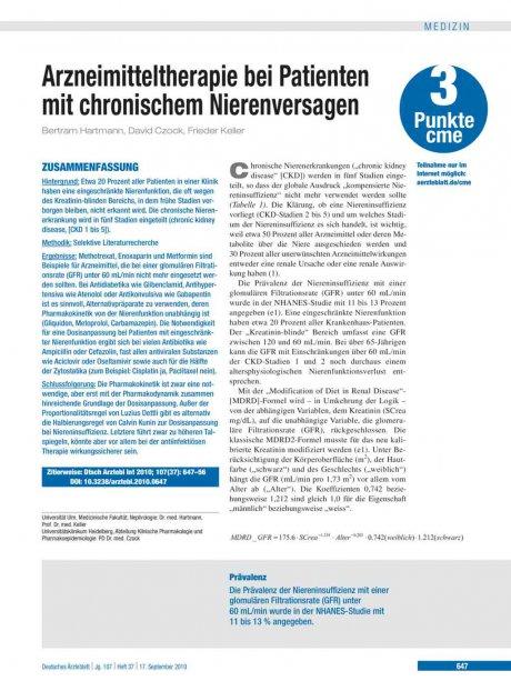 Arzneimitteltherapie bei Patienten mit chronischem Nierenversagen