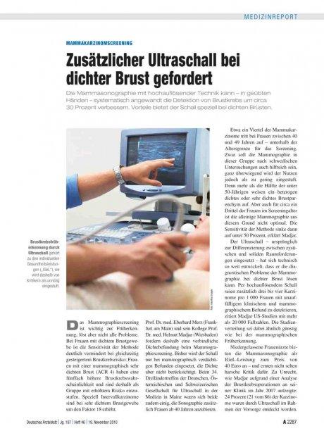 MammakarzinomScreening: Zusätzlicher Ultraschall bei dichter Brust gefordert
