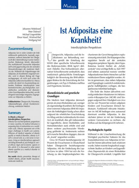 Ist Adipositas eine Krankheit?