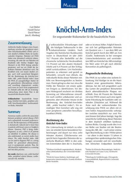 Knöchel-Arm-Index: Ein wegweisender Risikomarker für die hausärztliche Praxis