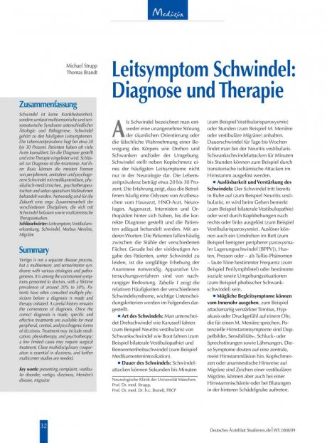 Leitsymptom Schwindel: Diagnose und Therapie