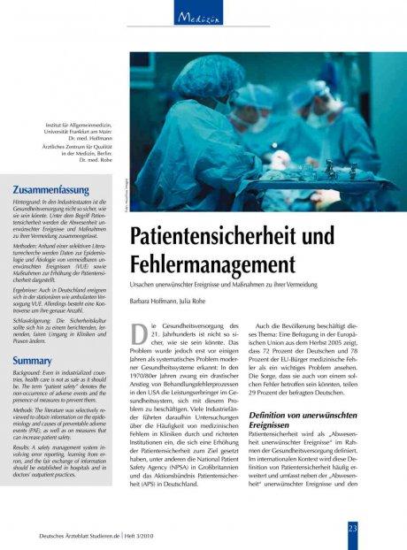 Patientensicherheit und Fehlermanagement: Ursachen unerwünschter Ereignisse und Maßnahmen zu ihrer Vermeidung